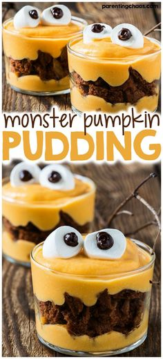 There's nothing better than a kid's favorite snack with a twist - monster pumpkin pudding!