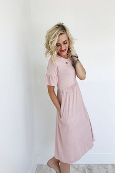 Empire Waist Dress with Ruffle Sleeve | ROOLEE