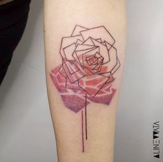 Geometric Rose Tattoo Design by Aline Wata