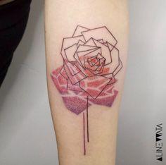 Geometric Rose Tattoo Design by Aline Wata