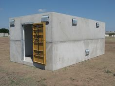 Precast concrete storm shelters are built to last. Get a storm shelter to protect your family today. Underground Shelter, Underground Homes, Doomsday Bunker, Earth Sheltered Homes, Panic Rooms, Bomb Shelter, Precast Concrete, Concrete Houses, Safe Room
