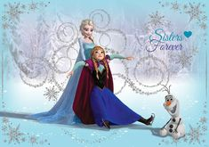 Disney Frozen Elsa Anna Olaf Wall Paper Mural | Buy at EuroPosters