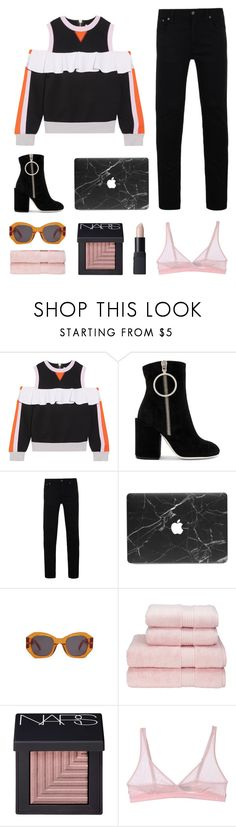 """""""This means nothing to me"""" by emmaadv ❤ liked on Polyvore featuring No Ka'Oi, Off-White, Nudie Jeans Co., Karen Walker, Christy, NARS Cosmetics and Cosabella"""