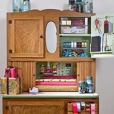 A craft room..or at least a designated craft area!  I could turn my Hoosier chest into this, and not have to wait for my dream home!