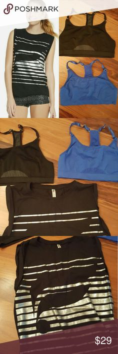 3 Piece Fabletics Bundle!!! McKinney Tank & 2 Bras Great Fabletics 3-piece bundle! McKinney black and metallic silver muscle tank and 2 sports bras, one black and one royal blue. No padding in bras, but really aupportive. All pieces are size Small. Bras best for up to C cup--they were a little small for me in the cup. All pieces worn 2-3 times and in EUC. Fabletics Tops Muscle Tees
