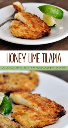 this delectable, Honey Lime Tilapia looks as if it's been battered and fried, it's actually a fairly healthful dish!Even though this delectable, Honey Lime Tilapia looks as if it's been battered and fried, it's actually a fairly healthful dish! Seafood Dishes, Seafood Recipes, Dinner Recipes, Tilapia Dishes, I Love Food, Good Food, Yummy Food, Healthy Cooking, Cooking Recipes