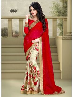 Red with Beige Floral Print Embroidered Designer Saree
