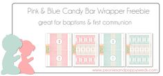 Free Printable First Communion Candy Bar Wrappers   Peonies and Poppy Seeds:  Great party favor for a Baptism / Christening or First Holy Communion celebration