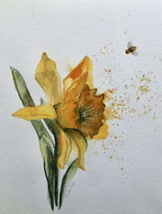 """A original watercolour painting on sketch paper.<p class="""""""" ... Small Paintings, Original Paintings, Watercolour Painting, Watercolours, Sketch Paper, Irish Art, Daffodils, Art For Sale, Contemporary Art"""