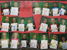 One of our students was moving before the end of the school year. Each student colored a letter and then I photographed them with their letter. Printed, cut out, and mounted the photos in order for the message. His mom loved the going away memento.