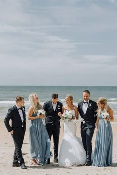 Stunning Swedish Beach Wedding at Hotel Tylösand - Bridal party - Beach Blue Beach Wedding, Beach Wedding Bridesmaids, Beach Wedding Reception, Maxi Bridesmaid Dresses, Beach Wedding Photos, Spring Wedding, Destination Wedding, Wedding Destinations, Beach Wedding Outfits
