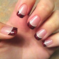 Red and white lined tipped nails...so pretty and sparkly..
