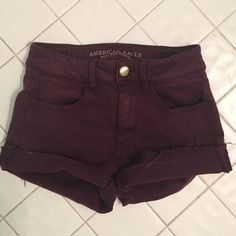 Maroon High Waisted Shorts These are super stretchy high waisted shorts from American eagle outfitters, only worn a few times in great condition American Eagle Outfitters Shorts