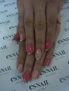 pink and nude rhinestone nails