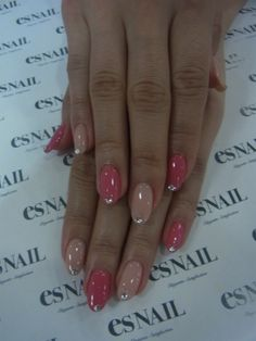 pink and nude rhinestone nails