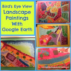 Bird's-Eye-View-Landscape-Paintings-Using-Google-Earth-Elementary-Art-Lesson-Paint-Computers