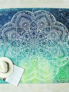 Turquoise Flower Print Round Beach Blanket
