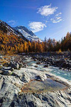 Ova da Morteratsch. Piz Bernina. Val Morteratsch. Graubünden.