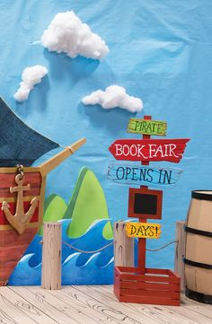 Create a sea-worthy Book Fair entrance sure to capture more than just your school's attention! Use cotton or polyester batting to create fluffy clouds as part of your display. #mybookfair