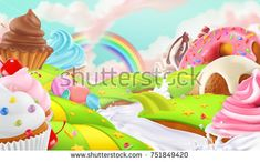 Cupcake, fairy cake. Sweet landscape, 3d vector background