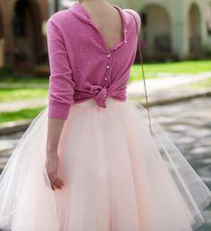 bittersweet colours, tulle skirt, ballerina skirt, cashmere cardigan, pink, tulle, feminine style, Spring, street style, Zara, ASOS, mirrore...
