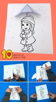 """The post """"Girl With Umbrella in the Rain Printable Craft"""" appeared first on Pink Unicorn activities For Girls Arts And Crafts House, Easy Arts And Crafts, Crafts For Kids To Make, Crafts For Girls, Art For Kids, Kids Fun, Activities For Girls, Craft Activities, Preschool Crafts"""