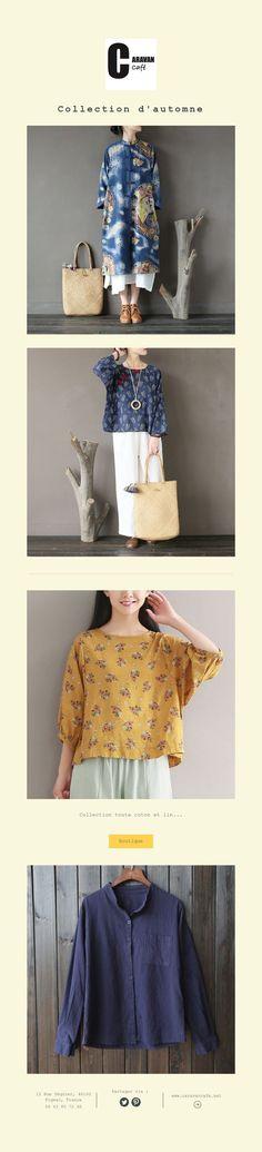 Collection d'automne Caravan, Collection, Blouse, Tops, Fashion, Fall Season, Cotton, Moda, Fashion Styles