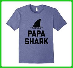 Mens Papa Shark Fin Best Dad Distressed Shirt XL Heather Blue - Relatives and family shirts (*Amazon Partner-Link)