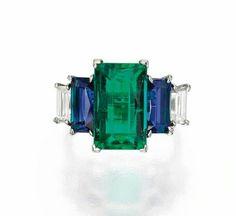 Emerald saffires & diamonds ring