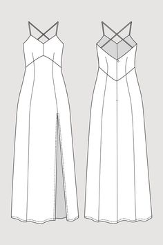Buy the Elizabeth Gown sewing pattern from Named. This maxi-length, lined dress has a deep vent at the front and cross back spaghetti straps. Fashion Flats, Diy Fashion, Ideias Fashion, Fashion Design Drawings, Fashion Sketches, Mode Stage, Named Clothing, Polo Shirt Design, Clothing Sketches