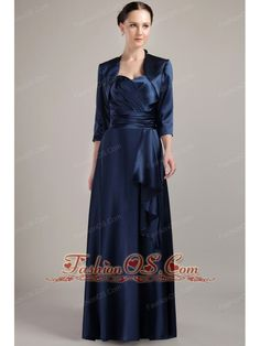 Navy Blue Empire Halter Floor-length Taffeta Mother of the Bride Dress- $127.62http://www.fashionos.com  http://www.facebook.com/quinceaneradress.fashionos.us  An elegant evening dress with a halter top sweetheart neckline and a ruched waistband. With the band, your pretty curves is fully presented. This gown has a matching jacket, with the jacket, you will looks more mature and demure.
