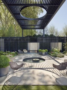 Contemporary metal pergola shading