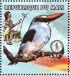 Blue-breasted Kingfisher stamps - mainly images - gallery format