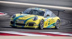 Porsche Cup Challenge Middle East driver Charlie Frijns in action at the Bahrain circuit Porsche 911 Gt3, Car Photography, Race Cars, Racing, The Incredibles, Middle East, F1, Vehicles, Circuit