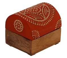 """Bulk Wholesale Handmade 3"""" Trunk-Shaped Mango-Wood Jewelry Box / Trinket Box in Orange & Natural-Wood Color Decorated with Traditional-Look Motifs in Cone-Painting Art – Ethnic-Look Boxes from India"""