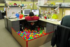 decorate office at work. Entrancing Brthday Party Office Cubicle Decorating Ideas Big Man On  Chair Equipped With Small Balls In Various Colors: Design Decorate At Work .