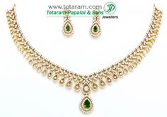 18K Gold Diamond Necklace & Drop Earrings Set with Color Stones - 235-DS573 - Buy this Latest Indian Gold Jewelry Design in 49.400 Grams for a low price of $10,820.59