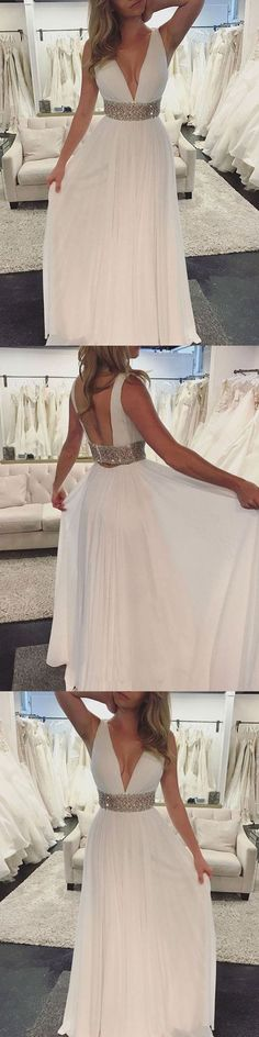 Chic A Line Prom Dress Modest Chiffon Cheap Long Prom Dress M1362#prom #promdress #promdresses #longpromdress #promgowns #promgown #2018style #newfashion #newstyles #2018newprom #eveninggown #chic #chiffonpromdress #whitepromgown #vneck