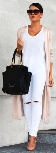 summer outfits Blush Cardigan + White Tee