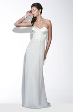 La Femme Criss cross back satin and chiffon gown $288