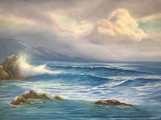 This extra large ocean painting captures a cloudy sunrise at Leo Carrillo Beach, California.  • This large original seascape painting is signed on the front and dated on the back as well as accompanied by a Certificate of Authenticity.  • Oil on deep gallery wrapped 100% cotton