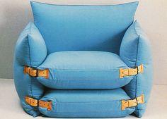 just-good-design: Davide Mercatali, Nomade for Formart, 1975 - Moden Achrichten Folding Furniture, Space Saving Furniture, Diy Furniture, Furniture Design, Nomadic Furniture, Diy Sofa, Diy Chair, Diy Pillows, Chair Bed