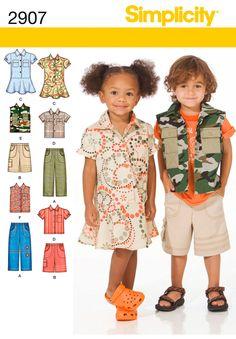 Simplicity Toddler Boys girls Pants shorts Dress Shirt or Vest Sewing Pattern 2907 UC FF Uncut Size 1 2 3 4 Toddler Sewing Patterns, Kids Patterns, Simplicity Sewing Patterns, Sewing For Kids, Toddler Pants, Toddler Dress, Toddler Outfits, Boy Outfits, Toddler Boys