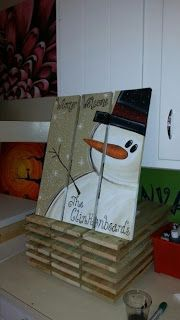 Snowman Wall Decor Made From Pallets