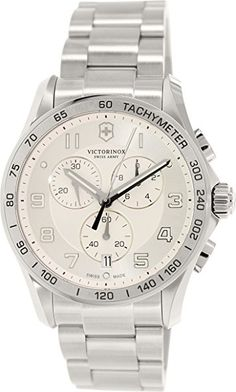 Victorinox Swiss Army Chrono Classic XLS Stainless Chronograph Watch with Silver Dial Rolex Watches, Watches For Men, Victorinox Swiss Army, Swiss Army Watches, Omega Watch, Bracelets, Neiman Marcus, Quartz, Classic