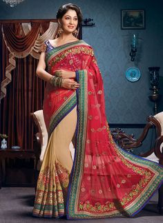 Cream And Hot Pink Resham Work Faux Georgette Half And Half Saree, Product Code :6959, shop now http://www.sareesaga.com/adorable-cream-and-hot-pink-resham-work-faux-georgette-half-and-half-saree-6959  Email :support@sareesaga.com What's App or Call : +91-9825192886