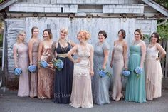 Custom wedding dress by lilluvroc.com.  My wedding party. Girls in different dresses so everyone looks bomb!!! Custom Wedding Dress, Different Dresses, Bridesmaid Dresses, Wedding Dresses, Girls, Party, Design, Fashion, Bridesmade Dresses