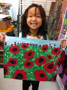 Emil Nolde Poppies inspired art lessons for children - Art Education ideas Art Lessons For Kids, Art Lessons Elementary, Art For Kids, Art 2nd Grade, Remembrance Day Art, Arte Elemental, Classe D'art, School Art Projects, Kindergarten Art