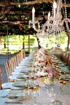 Robin's Egg Blue and Gold: Gold and soft blue accents bring elegance to pink centerpieces