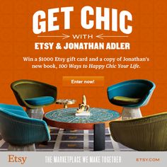 "Get chic with Etsy and Jonathan Adler! Enter to win a $1000 Etsy gift card and a copy of Jonathan's new book, ""100 Ways to Happy Chic Your Life."" Visit the sweepstakes page for more information and contest rules. http://sweeps.pinfluencer.com/EtsyGetChicSweepstakes"